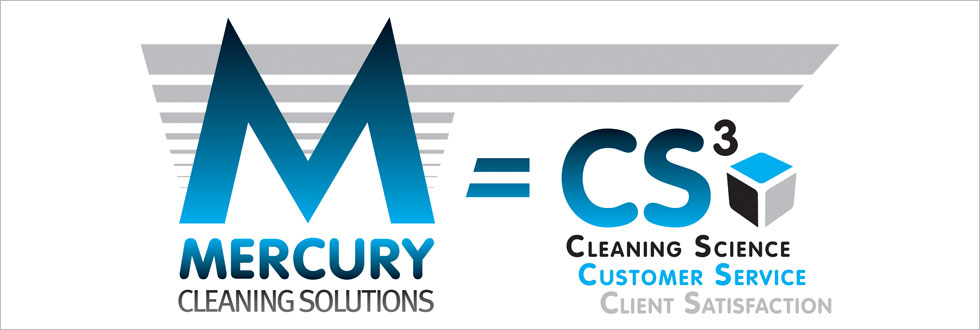 Mercury Cleaning Solutions logo followed by the '=' symbol, the letters 'CS', a cube and the words 'Cleaning Science', 'Customer Service' and 'Client Satisfaction'